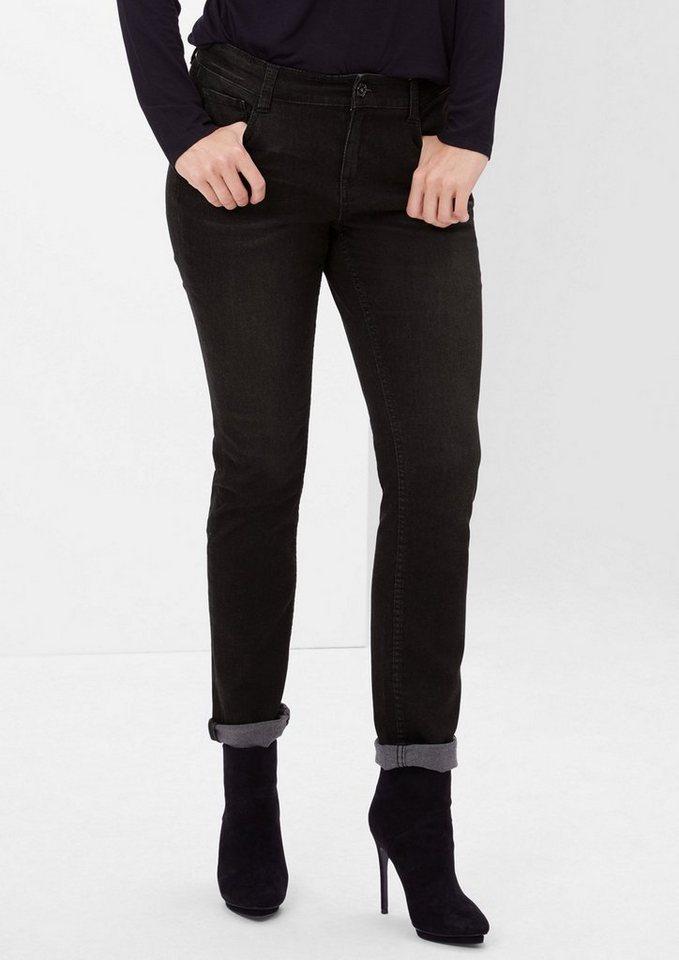 TRIANGLE Regular: Schmale Stretch-Jeans in black