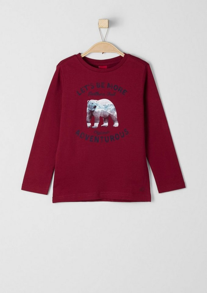 s.Oliver RED LABEL Junior Langarmshirt mit Frontprint für Jungen in dark red