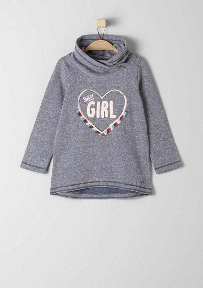 s.Oliver RED LABEL Junior Sweatshirt mit Applikation für Mädchen in dark blue melange