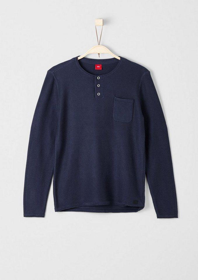 s.Oliver RED LABEL Junior Strickpullover mit Brusttasche für Jungen in dark blue
