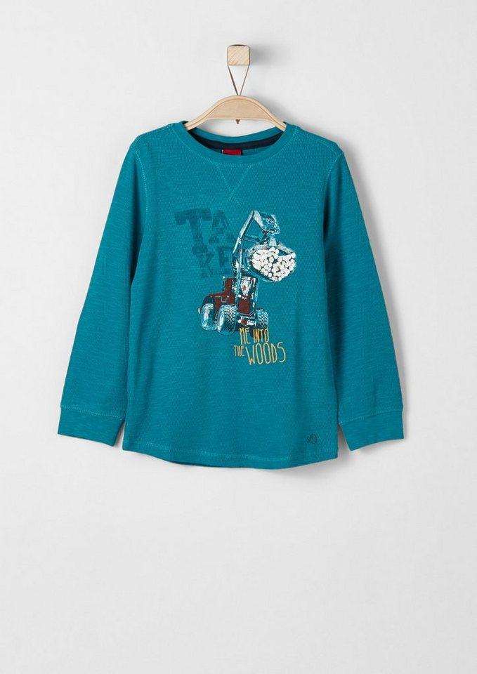 s.Oliver RED LABEL Junior Strukturiertes Sweatshirt mit Print für Jungen in petrol