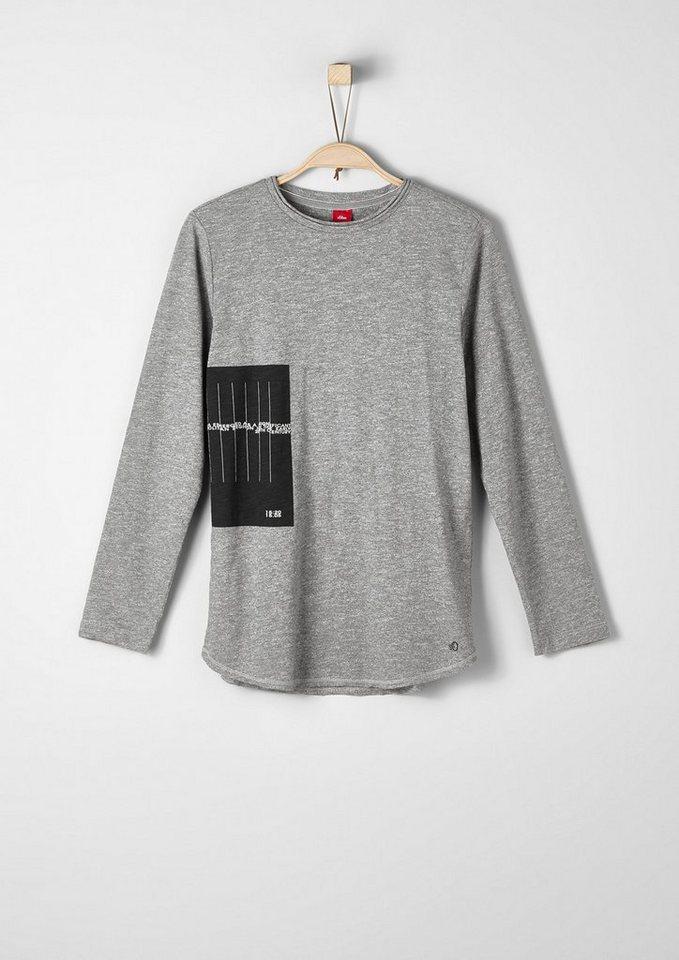 s.Oliver RED LABEL Junior Meliertes Langarmshirt mit Print für Jungen in grey melange AOP