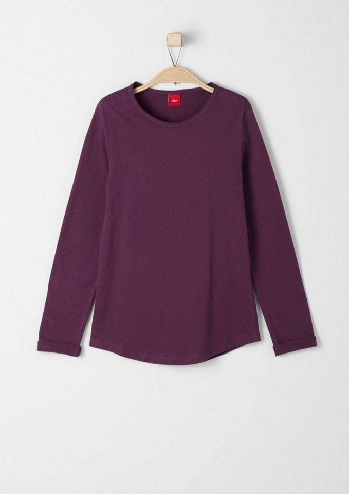 s.Oliver RED LABEL Junior Basic-Langarmshirt aus Jersey für Mädchen in dark pink