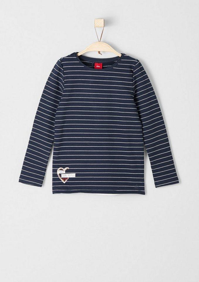 s.Oliver RED LABEL Junior Geringeltes Sweatshirt im Layer-Look für Mädchen in dark blue stripes