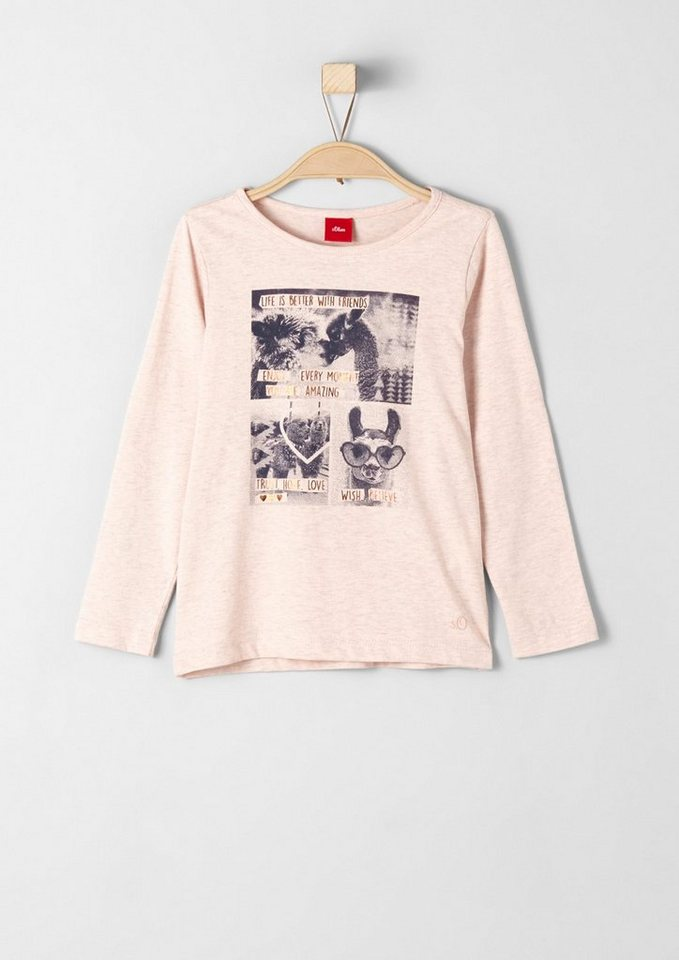 s.Oliver RED LABEL Junior Langarmshirt mit Foto-Printcollage für Mädchen in light pink melange