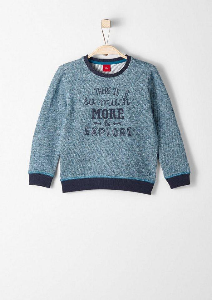 s.Oliver RED LABEL Junior Sweatshirt mit Wording für Jungen in petrol AOP