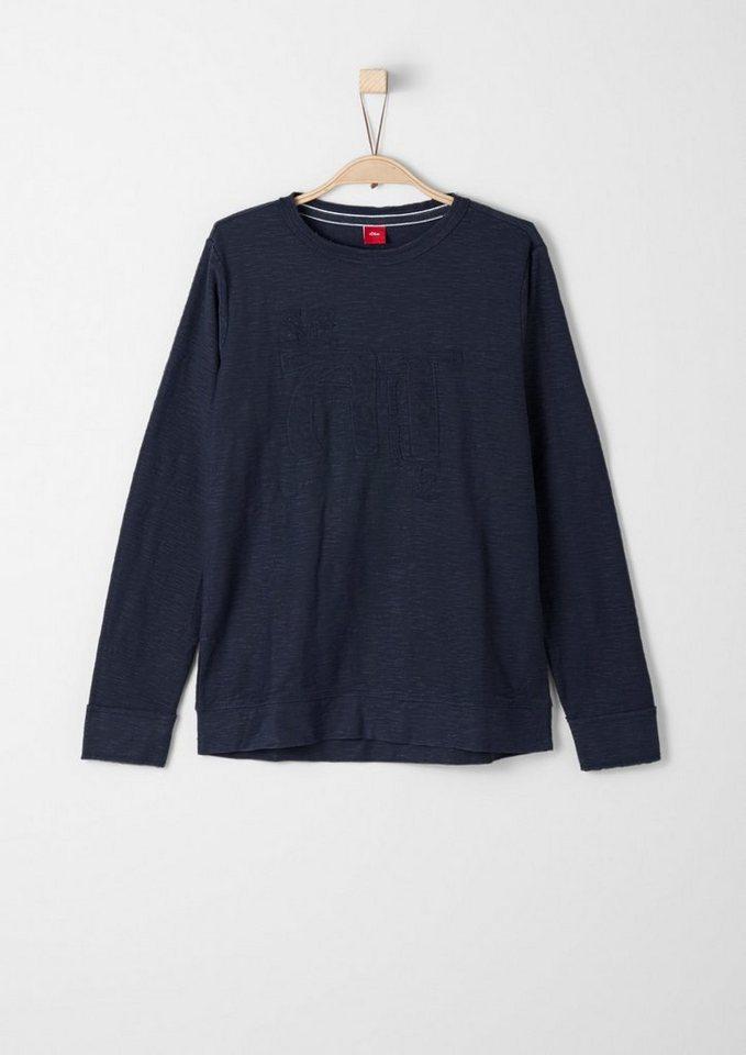 s.Oliver RED LABEL Junior Flammgarn-Shirt mit Schriftapplikation für Jungen in dark blue