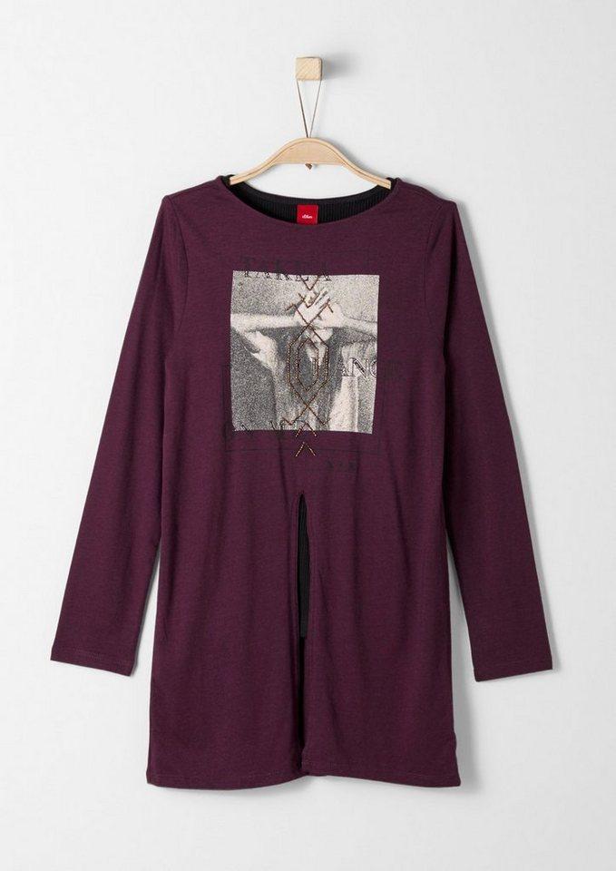 s.Oliver RED LABEL Junior 2-in-1-Langarmshirt mit Print für Mädchen in dark pink