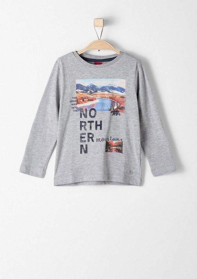 s.Oliver RED LABEL Junior Langarmshirt mit Foto-Print für Jungen in grey melange