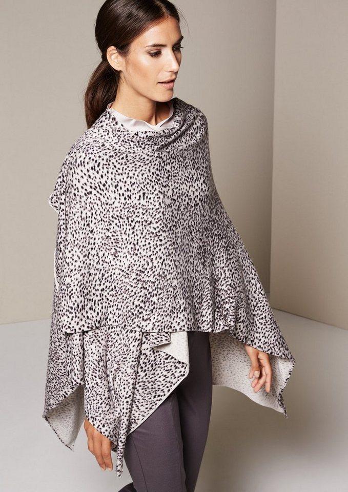 COMMA Glamouröser Strickponcho mit schön gestaltetem Alloverprint in pearl AOP minimal