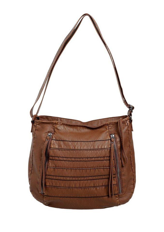s.Oliver RED LABEL Shoulder Bag mit Steppnähten in brown