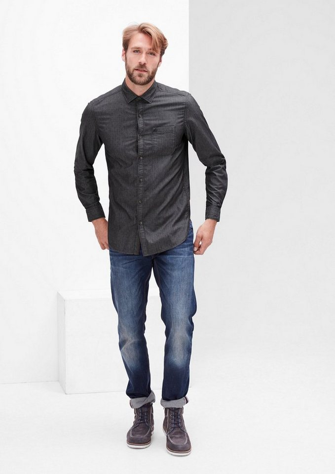 s.Oliver RED LABEL Slim: Leichtes Twill-Hemd in charcoal