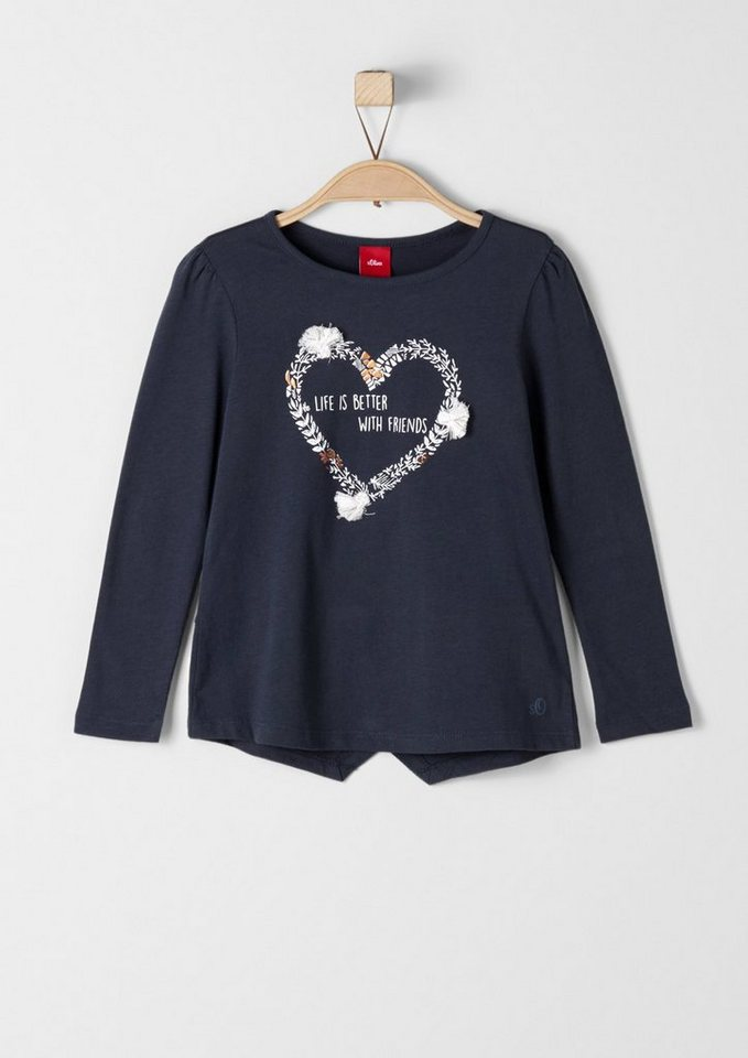 s.Oliver RED LABEL Junior Longsleeve mit Quasten-Applikation für Mädchen in dark blue