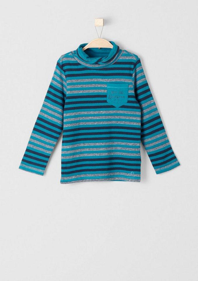 s.Oliver RED LABEL Junior Gestreiftes Langarmshirt für Jungen in petrol stripes