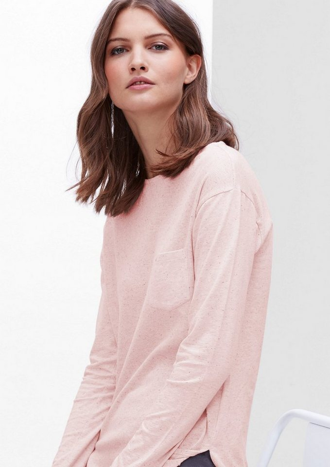 s.Oliver RED LABEL Rippshirt im Materialmix in pale blush melange