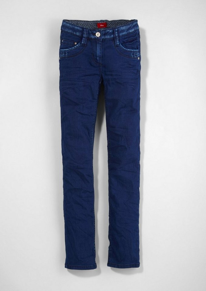 s.Oliver RED LABEL Junior Suri Slim: Superstretch-Jeans für Mädchen in blue denim stretch
