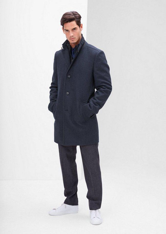 s.Oliver BLACK LABEL Modern Fit: Herringbone-Mantel in dark blue