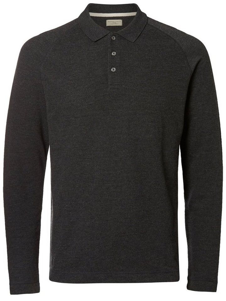 Selected Langärmeliges Poloshirt in Antracit
