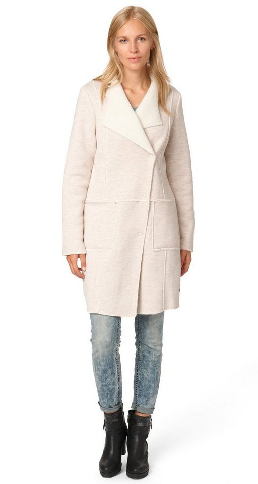 TOM TAILOR Jacke »Mantel in Lammfell-Optik« in linen white