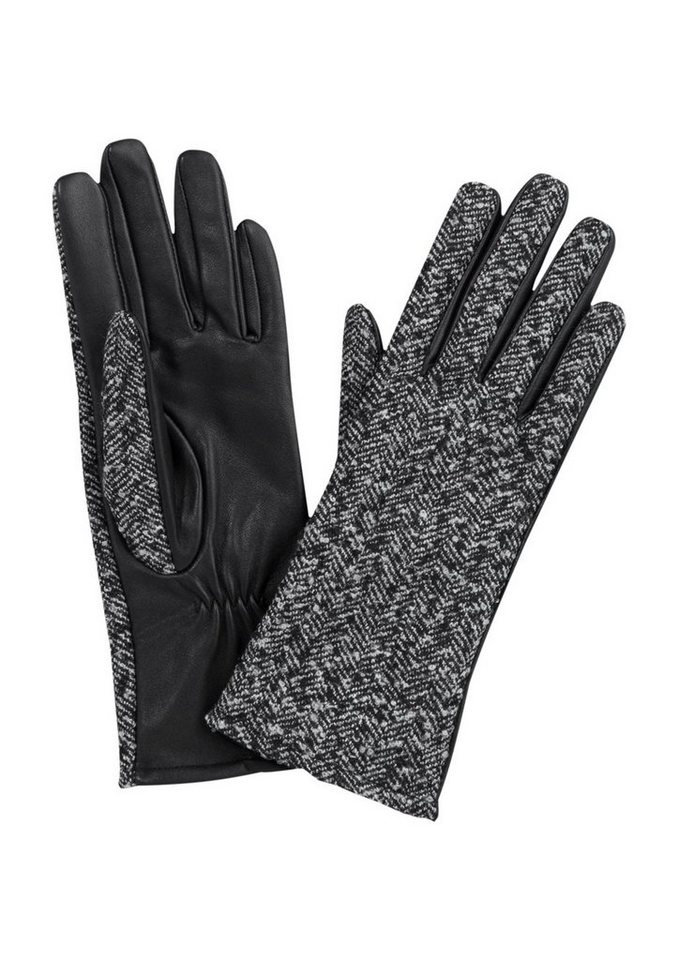 s.Oliver BLACK LABEL Handschuhe aus Wolle und Leder in grey melange