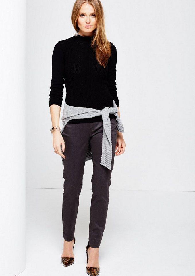 COMMA Matt glänzende 5-Pocket Pants mit schönen Detailarbeiten in graphit