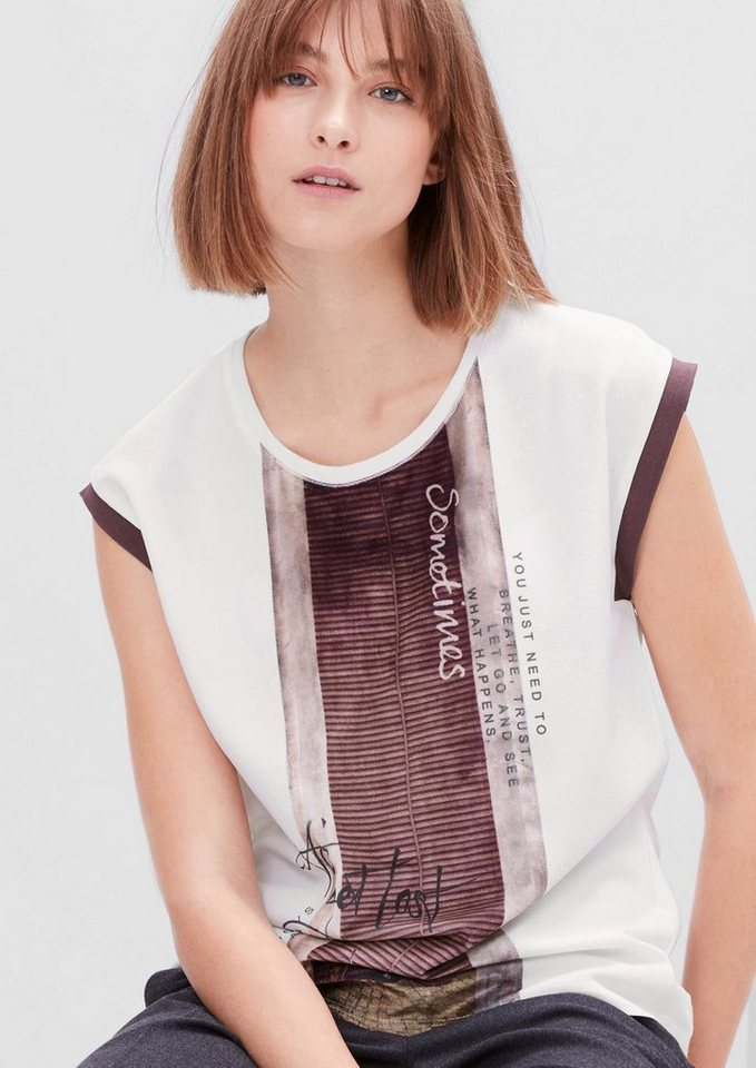 s.Oliver RED LABEL Materialmix-Top mit Samt in creme placed print