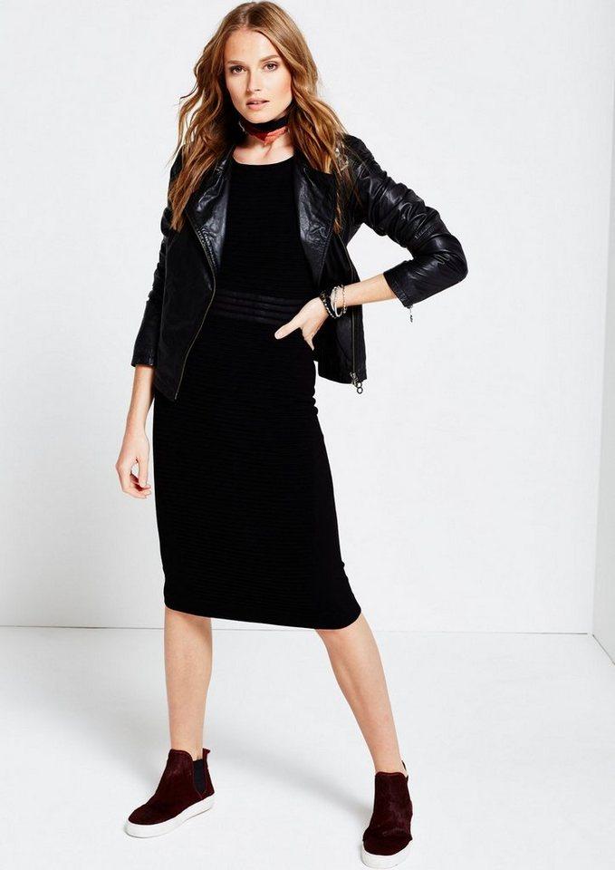 COMMA Weiches Abendkleid mit liebevoll gestaltetem Rippenmuster in black
