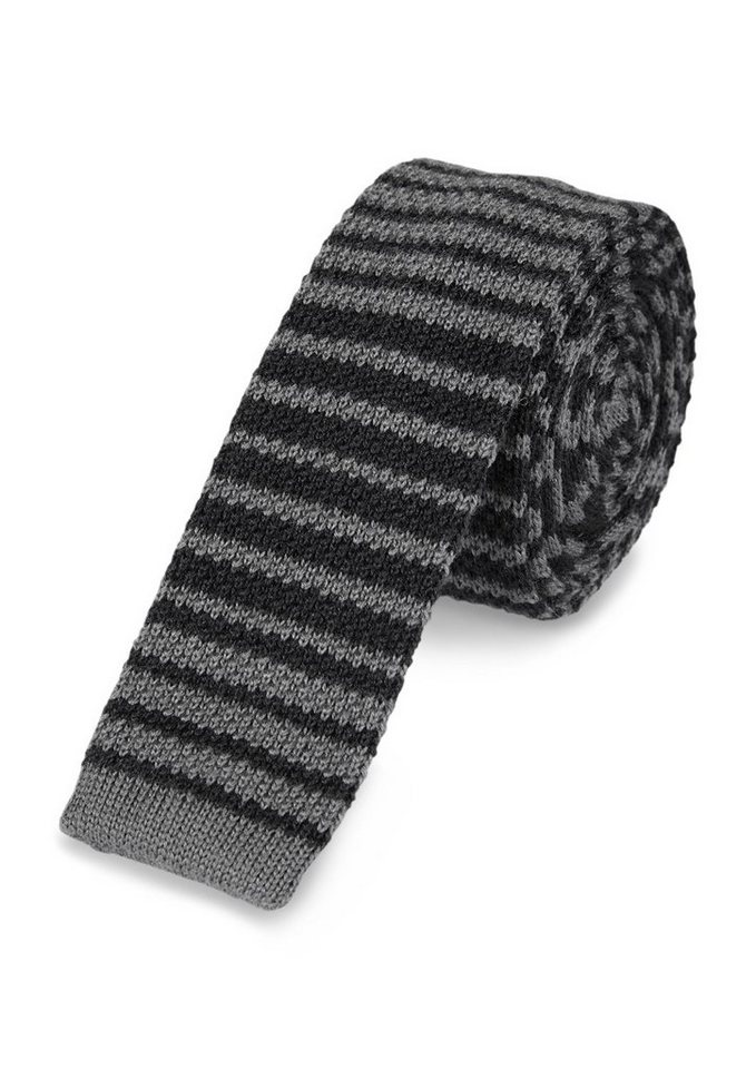 s.Oliver BLACK LABEL Strick-Krawatte mit Ringelmuster in classy grey