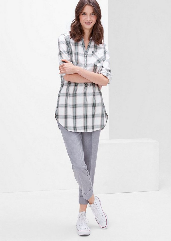 s.Oliver RED LABEL Longbluse in Flanell-Optik in creme check