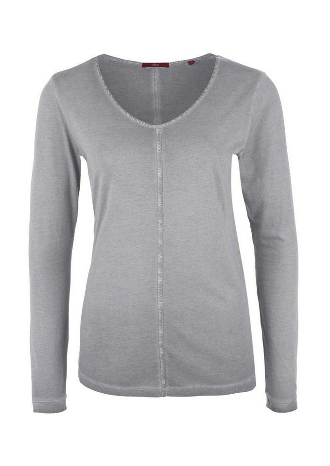 s.Oliver RED LABEL Langarmshirt in Garment Dye in dark grey