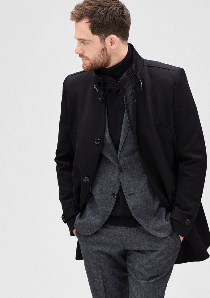 s.Oliver BLACK LABEL Modern Fit: Twillmantel mit Insert in black