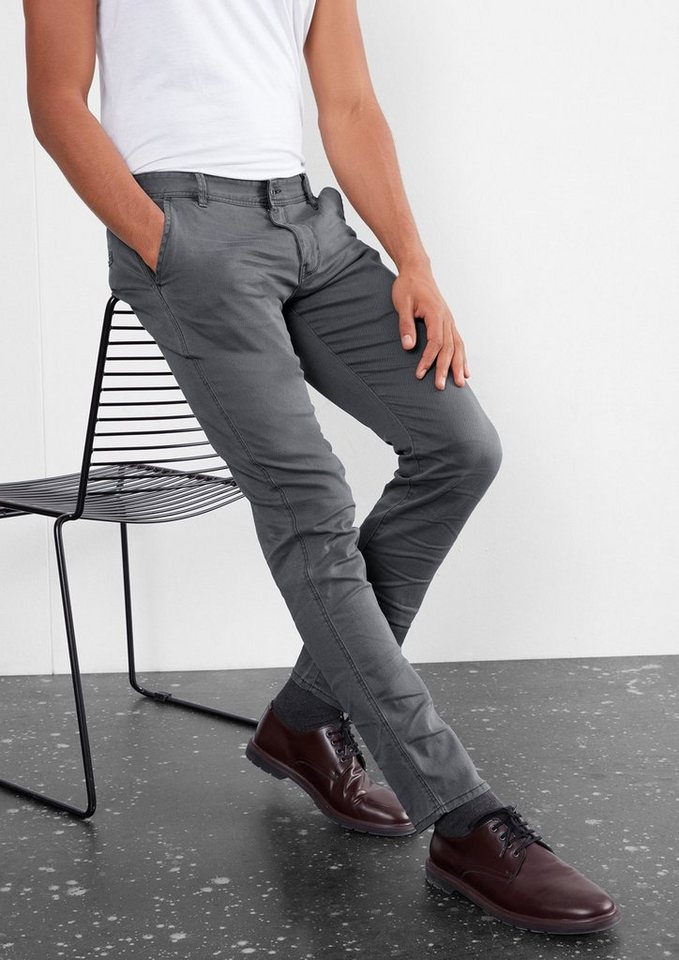 Q/S designed by Rick Slim: Chino mit Webmuster in black melange AOP