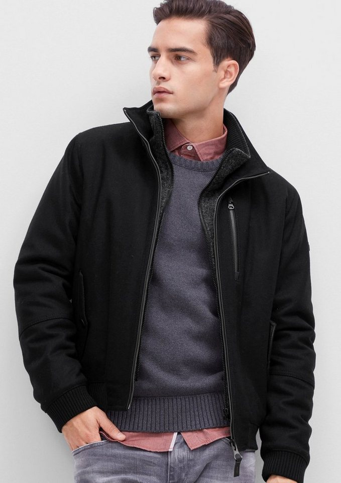 s.Oliver RED LABEL Gefütterter Wollfleece-Blouson in black