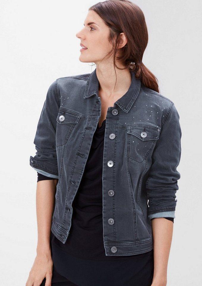 TRIANGLE Kurze Jeansjacke mit Nieten in dark grey