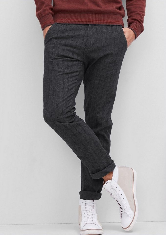 s.Oliver RED LABEL Sneck Slim: Fischgrat-Chino in charcoal