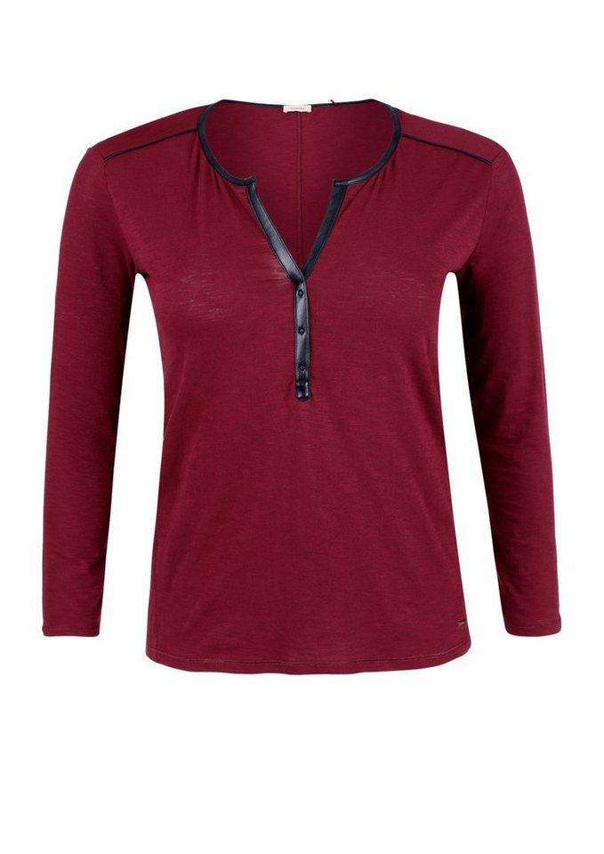 TRIANGLE Flammgarn-Shirt mit dekorativem Ausschnitt in burgunder