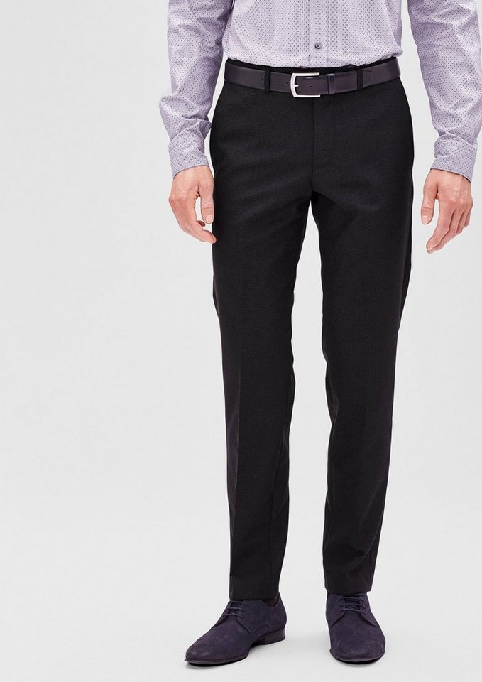 s.Oliver BLACK LABEL Slim: Festliche Schurwoll-Hose in black check