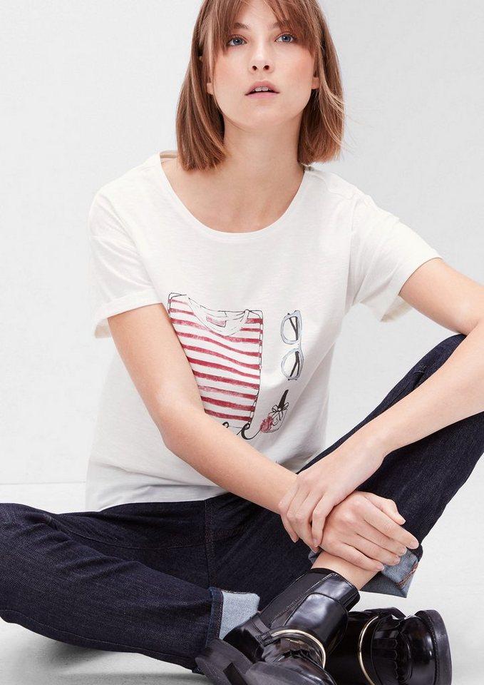 s.Oliver RED LABEL Flammgarn-Shirt mit Print in creme melange placed