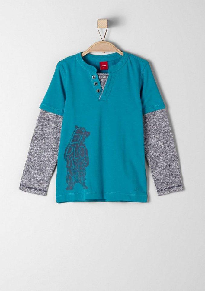 s.Oliver RED LABEL Junior Langarmshirt mit 2-in-1-Optik für Jungen in petrol