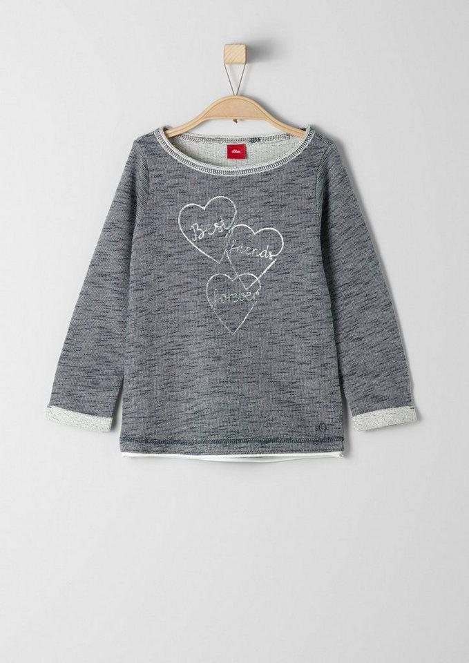s.Oliver RED LABEL Junior Sweatshirt mit Metallic-Print für Mädchen in dark blue melange