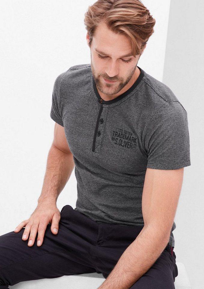 s.Oliver RED LABEL Schmales Melange-Shirt in black melange