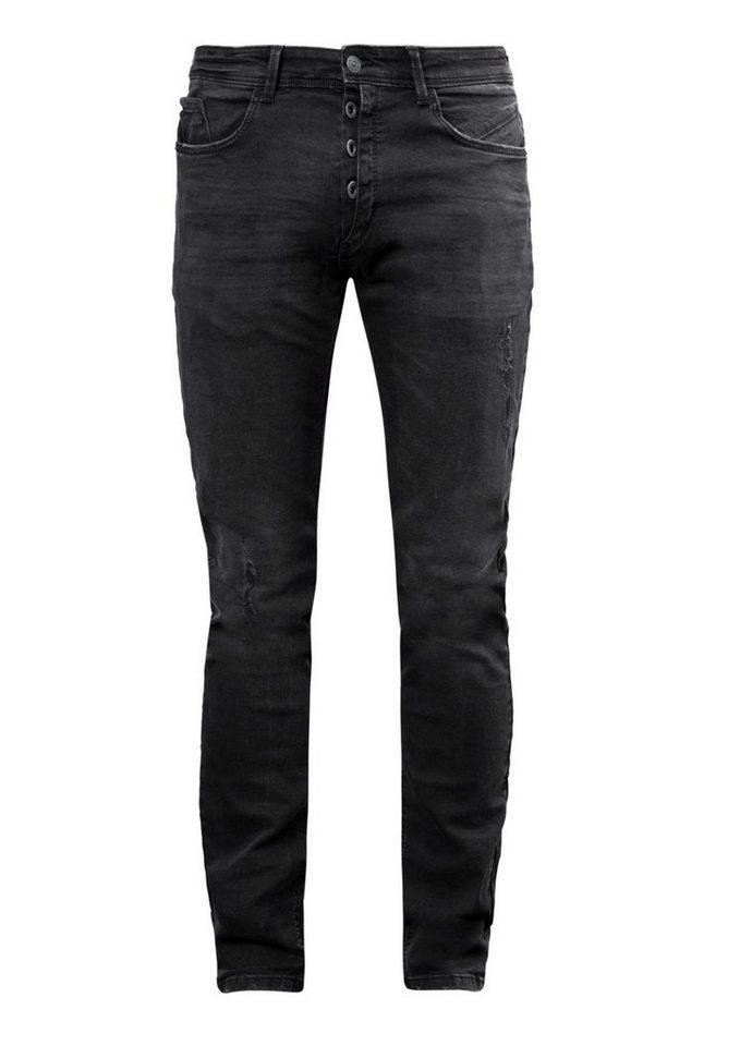 Q/S designed by Gavin Skinny: Stretchige Used-Jeans in dark grey