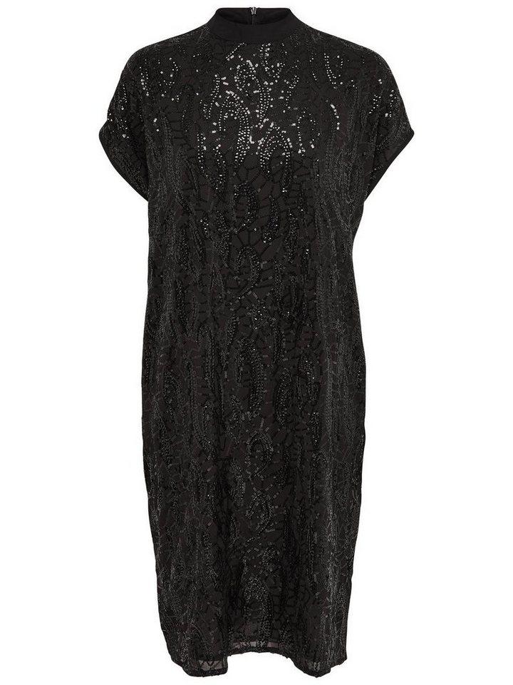 Only Pailletten- Kleid mit kurzen Ärmeln in Black