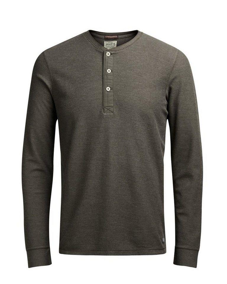 Jack & Jones Granddadkragen- T-Shirt mit langen Ärmeln in Black Olive