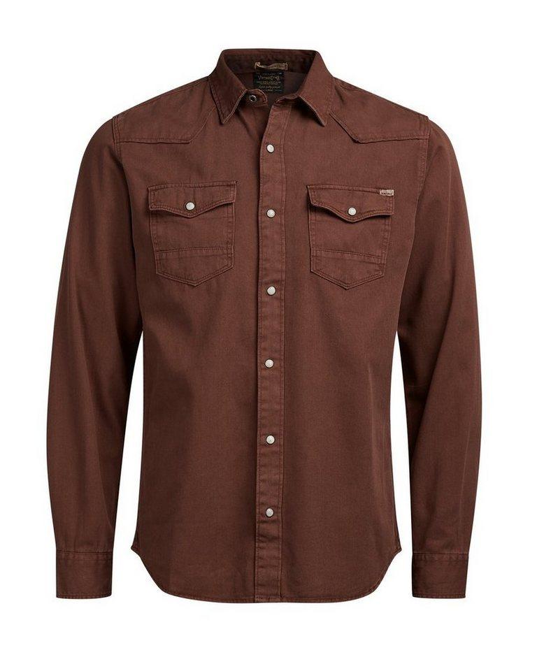 Jack & Jones Western- Langarmhemd in Rum Raisin