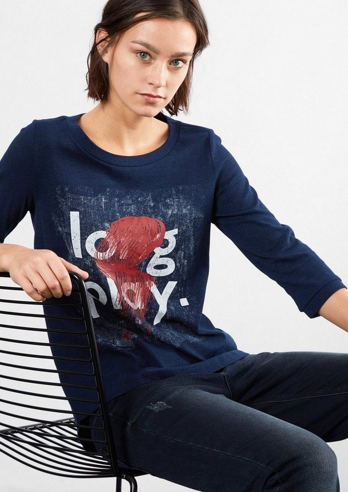 Q/S designed by Shirt mit Artwork-Print in midnight blue placed
