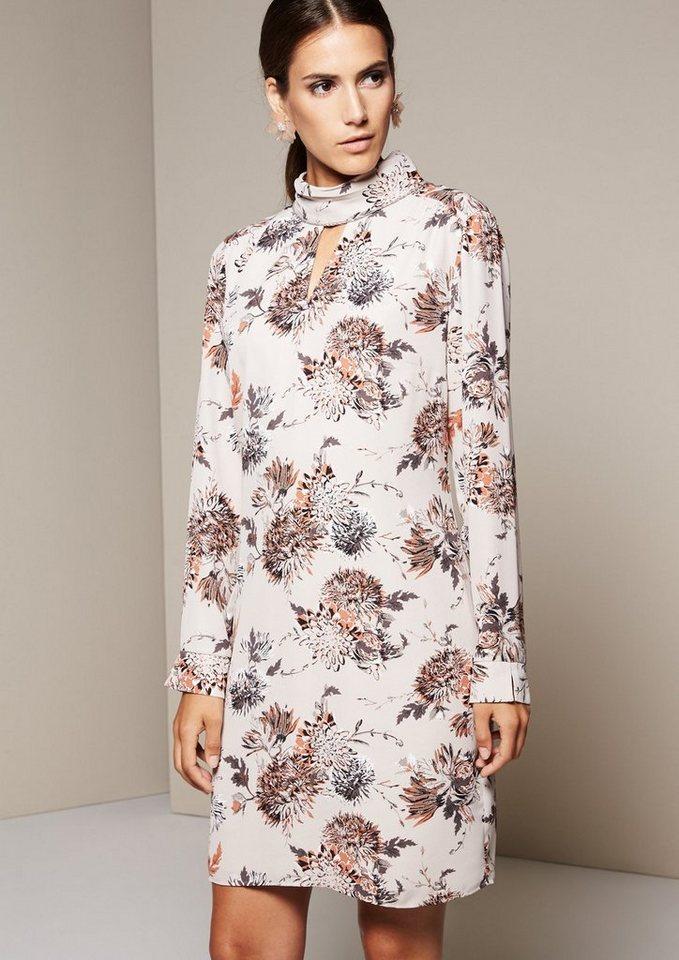 COMMA Zartes Chiffonkleid mit liebevoll gestaltetem Allovermuster in rose AOP flower