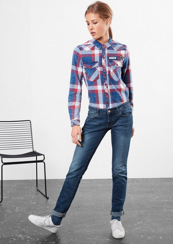 Q/S designed by Slim: Stretch-Jeans im Used-Look in blue denim, heavy st