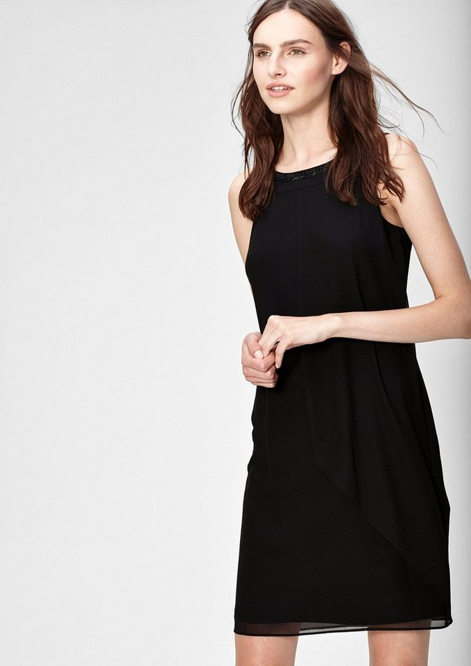 s.Oliver BLACK LABEL Chiffonkleid im Lagen-Look in caviar