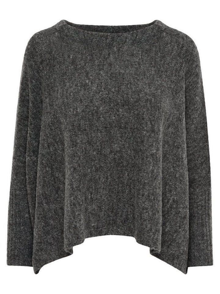 Only Oversize- Strickpullover in Dark Grey Melange